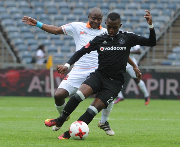 Sipho Jembula of Polokwane City challenges Patrick Phungwayo of Orlando Pirates during the Absa Premiership match between Orlando Pirates and Polokwane City  on the 25 February 2017 at Orlando Stadium © Sydney Mahlangu/BackpagePix