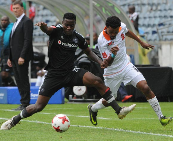 Tlou Segolela of Polokwane City is challenged by Ntsikelelo Nyauza of Orlando Pirates during the Absa Premiership match between Orlando Pirates and Polokwane City  on the 25 February 2017 at Orlando Stadium © Sydney Mahlangu/BackpagePix