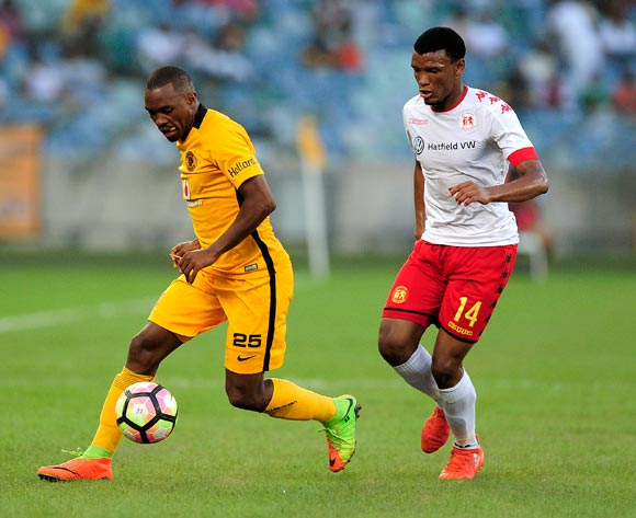 Mothobi Mvala of Highlands Park chases down Bernard Parker of Kaizer Chiefs FC during the Absa Premiership 2016/17 game between Kaizer Chiefs and Highlands Park at Moses Mabhida Stadium, Durban on 18 February 2017 © Gerhard Duraan/BackpagePix