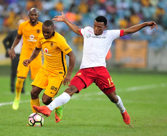 Mothobi Mvala of Highlands Park tries to stop Bernard Parker of Kaizer Chiefs FC during the Absa Premiership 2016/17 game between Kaizer Chiefs and Highlands Park at Moses Mabhida Stadium, Durban on 18 February 2017 © Gerhard Duraan/BackpagePix