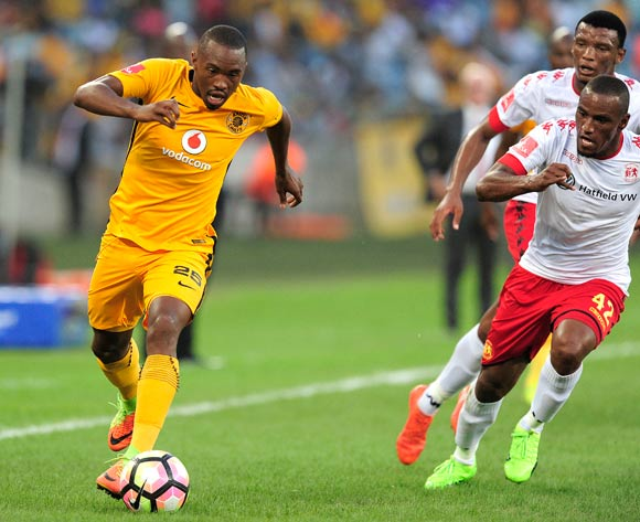 Bernard Parker of Kaizer Chiefs FC and Franklin Cale of Highlands Park FC during the Absa Premiership 2016/17 game between Kaizer Chiefs and Highlands Park at Moses Mabhida Stadium, Durban on 18 February 2017 © Gerhard Duraan/BackpagePix