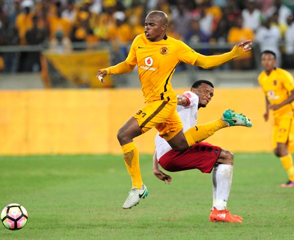 Willard Katsande of Kaizer Chiefs FC gets past the defence of Mothobi Mvala of Highlands Park during the Absa Premiership 2016/17 game between Kaizer Chiefs and Highlands Park at Moses Mabhida Stadium, Durban on 18 February 2017 © Gerhard Duraan/BackpagePix