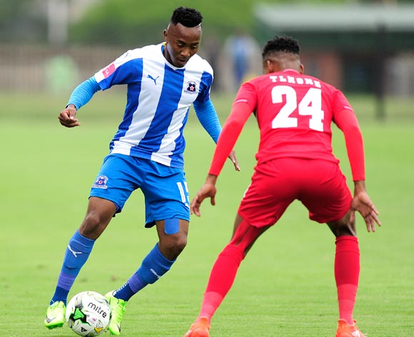 Bokang Tlhone of Free State Stars challenges Lebohang Maboe of Maritzburg United Stars FC during the Absa Premiership 2016/17 game between Maritzburg United and Free State Stars at Harry  Gwala Stadium, Pietermaritzburg on 26 February 2017 © Gerhard Duraan/BackpagePix