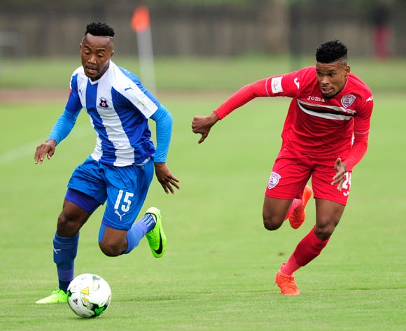 Bokang Tlhone of Free State Stars chases Lebohang Maboe of Maritzburg United Stars FC during the Absa Premiership 2016/17 game between Maritzburg United and Free State Stars at Harry  Gwala Stadium, Pietermaritzburg on 26 February 2017 © Gerhard Duraan/BackpagePix