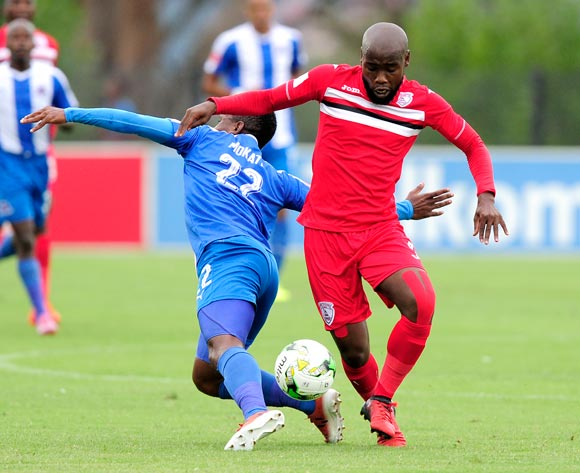 Nhlakanipho Nthli of Free State Stars FC brushes away Mohau Mokate of Maritzburg United during the Absa Premiership 2016/17 game between Maritzburg United and Free State Stars at Harry  Gwala Stadium, Pietermaritzburg on 26 February 2017 © Gerhard Duraan/BackpagePix