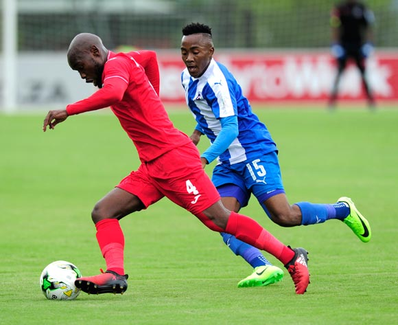 Lebohang Maboe of Maritzburg United  chases Nhlakanipho Nthli of Free State Stars FC during the Absa Premiership 2016/17 game between Maritzburg United and Free State Stars at Harry  Gwala Stadium, Pietermaritzburg on 26 February 2017 © Gerhard Duraan/BackpagePix