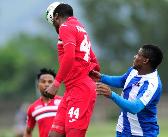 Rooi Mahamutsa of Free State Stars FC goes high to get the ball away from Mohau Mokate of Maritzburg United during the Absa Premiership 2016/17 game between Maritzburg United and Free State Stars at Harry  Gwala Stadium, Pietermaritzburg on 26 February 2017 © Gerhard Duraan/BackpagePix