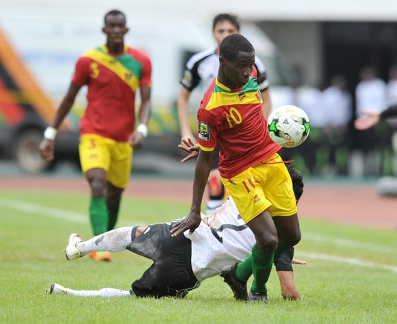 Morlaye Sylla of Guinea challenged by Ahmed Moussa of Egypt during the 2017 Total Zambia U-20 African Cup of Nations match between Guinea and Egypt at Heroes National Stadium, Lusaka Zambia on 01 March 2017 ©Muzi Ntombela/BackpagePix