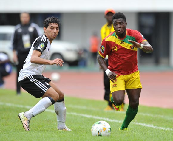 Yamodou Toure of Guinea challenged by Ahmed Moussa of Egypt during the 2017 Total Zambia U-20 African Cup of Nations match between Guinea and Egypt at Heroes National Stadium, Lusaka Zambia on 01 March 2017 ©Muzi Ntombela/BackpagePix