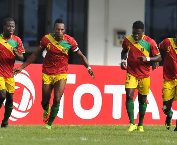Yamodou Toure of Guinea celebrates goal with teammates during the 2017 Total Zambia U-20 African Cup of Nations match between Guinea and Egypt at Heroes National Stadium, Lusaka Zambia on 01 March 2017 ©Muzi Ntombela/BackpagePix