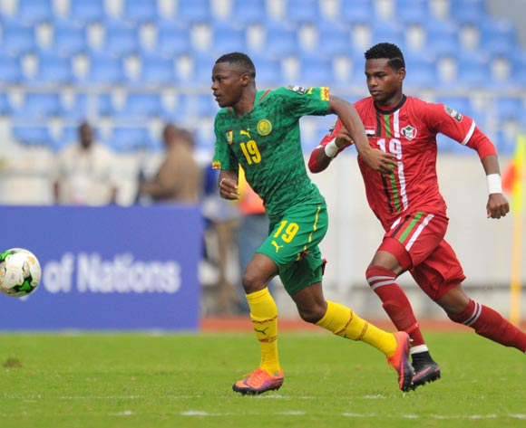 Preston Obiarrah of Cameroon challenged by Mohaid Mohamed of Sudan during the 2017 Total Zambia U-20 African Cup of Nations match between Sudan and Cameroon at Levy Mwanawasa Stadium, Ndola Zambia on 02 March 2017 ©Muzi Ntombela/BackpagePix