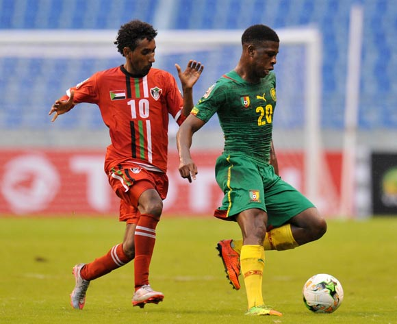 Kevin Soni of Cameroon challenged by Hassan Hassan of Sudan during the 2017 Total Zambia U-20 African Cup of Nations match between Sudan and Cameroon at Levy Mwanawasa Stadium, Ndola Zambia on 02 March 2017 ©Muzi Ntombela/BackpagePix