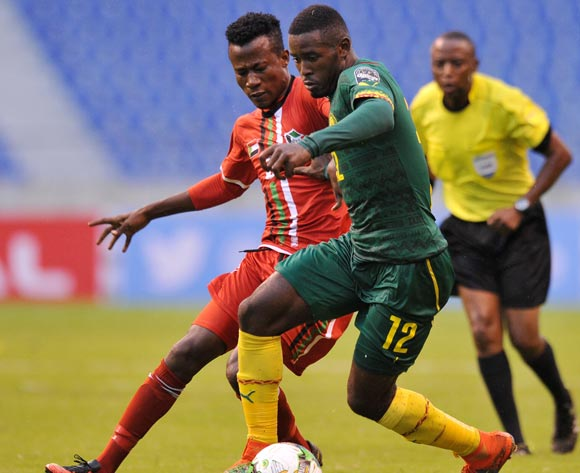 Fabrice Gael Ngah of Cameroon challenged by Eid Abakar Mugadam of Sudan during the 2017 Total Zambia U-20 African Cup of Nations match between Sudan and Cameroon at Levy Mwanawasa Stadium, Ndola Zambia on 02 March 2017 ©Muzi Ntombela/BackpagePix