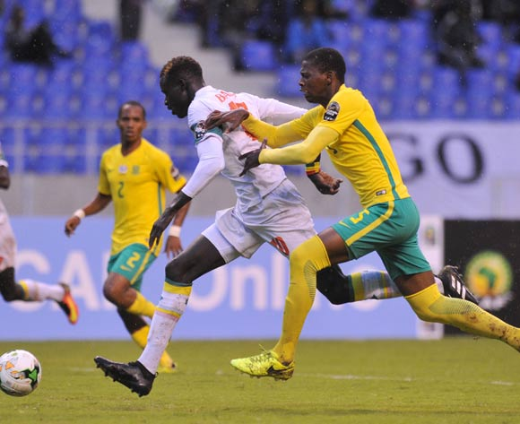 Aliou Badji of Senegal challenged by Sandile Mthethwa of South Africa during the 2017 Total Zambia U-20 African Cup of Nations match between South Africa v Senegal at Levy Mwanawasa Stadium, Ndola Zambia on 02 March 2017 ©Muzi Ntombela/BackpagePix