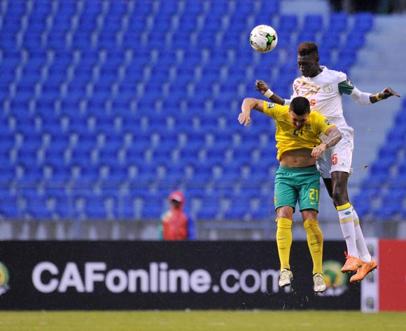 Jonathan Jordan of South Africa challenged by Ousseynou Cavin Diagne of Senegal during the 2017 Total Zambia U-20 African Cup of Nations match between South Africa v Senegal at Levy Mwanawasa Stadium, Ndola Zambia on 02 March 2017 ©Muzi Ntombela/BackpagePix