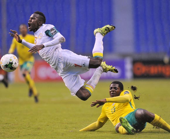 Ibrahima Ndiaye of Senegal tackled by Thendo Mukumela of South Africa during the 2017 Total Zambia U-20 African Cup of Nations match between South Africa v Senegal at Levy Mwanawasa Stadium, Ndola Zambia on 02 March 2017 ©Muzi Ntombela/BackpagePix