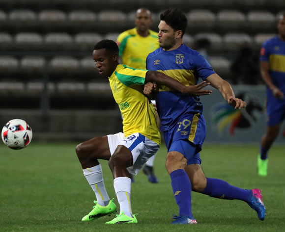 Themba Zwane of Mamelodi Sundowns challenged by Roland Putsche of Cape Town City FC during the Absa Premiership 2016/17 football match between Cape Town City FC and Mamelodi Sundowns at Athlone Stadium, Cape Town on 3 March 2017 ©Chris Ricco/BackpagePix