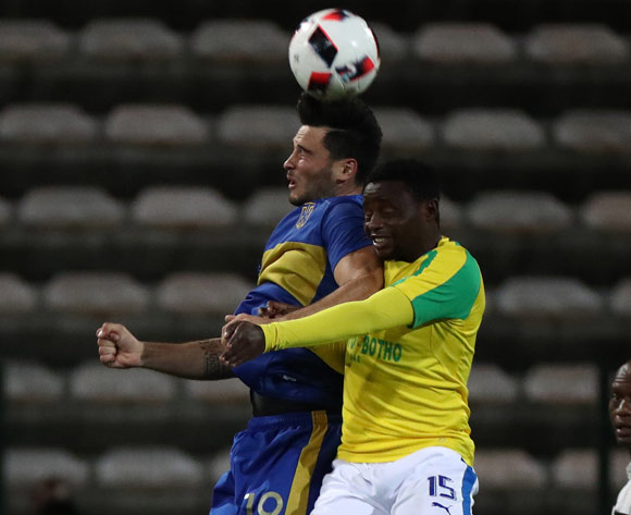 Roland Putsche of Cape Town City FC battles for the ball with Lucky Mohomi of Mamelodi Sundowns during the Absa Premiership 2016/17 football match between Cape Town City FC and Mamelodi Sundowns at Athlone Stadium, Cape Town on 3 March 2017 ©Chris Ricco/BackpagePix