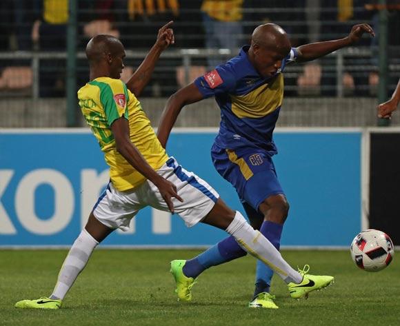 Lebogang Manyama of Cape Town City FC tackled by Tiyani Mabunda of Mamelodi Sundowns during the Absa Premiership 2016/17 football match between Cape Town City FC and Mamelodi Sundowns at Athlone Stadium, Cape Town on 3 March 2017 ©Chris Ricco/BackpagePix