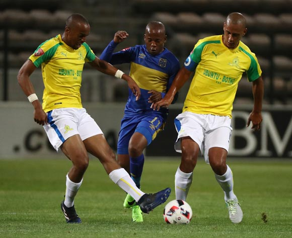 Aubrey Ngoma of Cape Town City FC tackled by Tiyani Mabunda of Mamelodi Sundowns (l) and Wayne Arendse of Mamelodi Sundowns during the Absa Premiership 2016/17 football match between Cape Town City FC and Mamelodi Sundowns at Athlone Stadium, Cape Town on 3 March 2017 ©Chris Ricco/BackpagePix