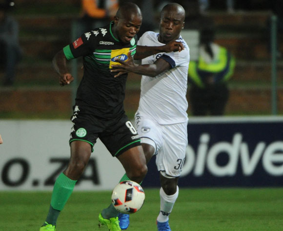 Lanshene Phalane of Bloemfontein Celtic is challenged by Ben Motshwari of Bidvest Wits during the Absa Premiership match between Bidvest Wits and Bloemfontein Celtic  on the 03 March 2017 at Bidvest Stadium © Sydney Mahlangu/BackpagePix