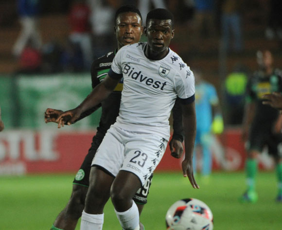 Sibusiso Mxoyana of Bloemfontein Celtic challenges Sifiso Myeni of Bidvest Wits during the Absa Premiership match between Bidvest Wits and Bloemfontein Celtic  on the 03 March 2017 at Bidvest Stadium © Sydney Mahlangu/BackpagePix
