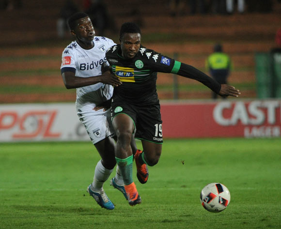 Sibusiso Mxoyana of Bloemfontein Celtic is challenged by Sifiso Myeni of Bidvest Wits during the Absa Premiership match between Bidvest Wits and Bloemfontein Celtic  on the 03 March 2017 at Bidvest Stadium © Sydney Mahlangu/BackpagePix