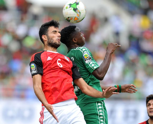 Mahmoud Sharafeldin of Egypt clears ball from Patson Daka of Zambia during the 2017 Total Zambia U-20 African Cup of Nations match between Zambia and Egypt at Heroes National Stadium, Lusaka Zambia on 04 March 2017 ©Muzi Ntombela/BackpagePix