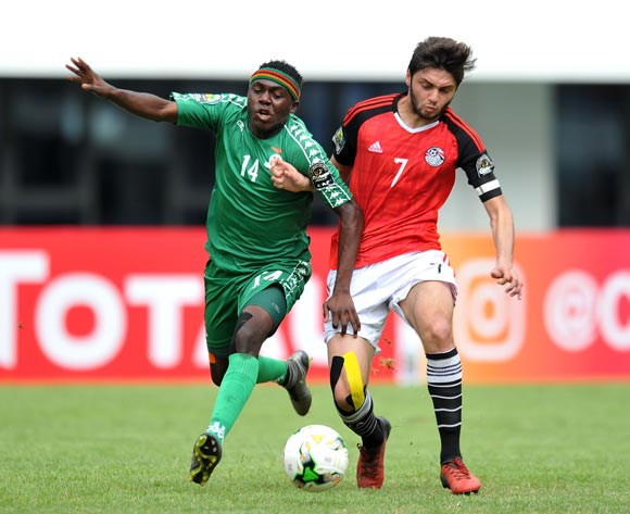 Edward Chilufya of Zambia challenged by Karim Hassan of Egypt during the 2017 Total Zambia U-20 African Cup of Nations