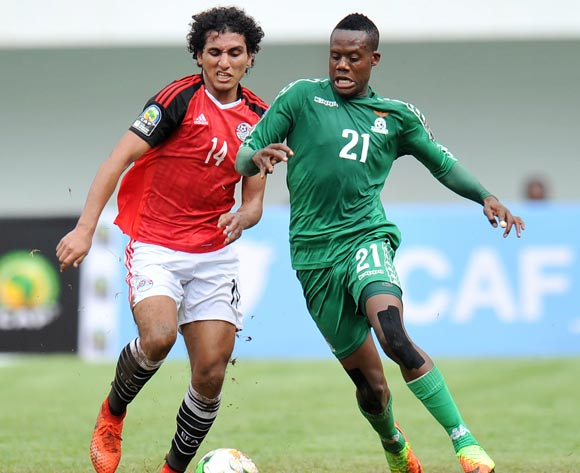 Boyd Musonda of Zambia challenged by Ahmed Hussein Hafez of Egypt during the 2017 Total Zambia U-20 African Cup of Nations match between Zambia and Egypt at Heroes National Stadium, Lusaka Zambia on 04 March 2017 ©Muzi Ntombela/BackpagePix