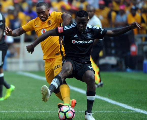 Bernard Parker of Kaizer Chiefs challenges Ntsikelelo Nyauza of Orlando Pirates during theAbsa Premiership match between Kaizer Chiefs and Orlando Pirates  on the 04 March 2017 at FNB Stadium © Sydney Mahlangu/BackpagePix