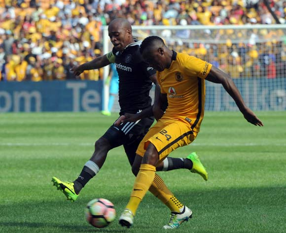 Oupa Manyisa of Orlando Pirates challenges Tsepo Masilela of Kaizer Chiefs during theAbsa Premiership match between Kaizer Chiefs and Orlando Pirates  on the 04 March 2017 at FNB Stadium © Sydney Mahlangu/BackpagePix