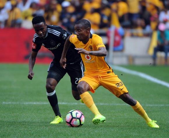 Joseph Molangoane of Kaizer Chiefs is challenged by Thembinkosi Lorch of Orlando Pirates during theAbsa Premiership match between Kaizer Chiefs and Orlando Pirates  on the 04 March 2017 at FNB Stadium © Sydney Mahlangu/BackpagePix