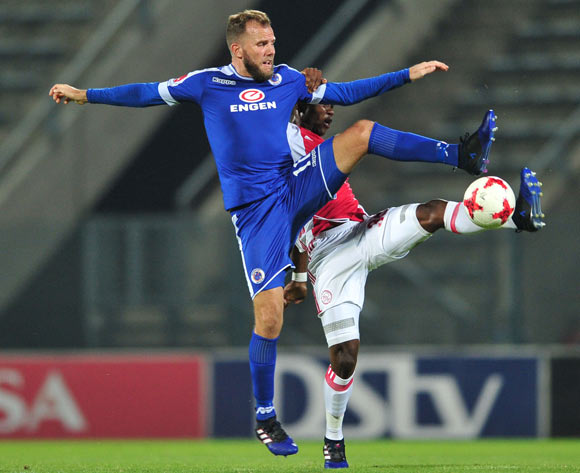 Jeremy Brockie of Supersport United challenged by Rodrick Kabwe of Ajax Cape Town during the Absa Premiership 2016/17 match between Supersport United and Ajax Cape Town at Lucas Moripe Stadium, South Africa on 04 March 2017 ©Samuel Shivambu/BackpagePix
