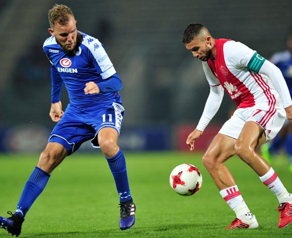 Roscoe Pietersen of Ajax Cape Town challenged by Jeremy Brockie of Supersport United during the Absa Premiership 2016/17 match between Supersport United and Ajax Cape Town at Lucas Moripe Stadium, South Africa on 04 March 2017 ©Samuel Shivambu/BackpagePix