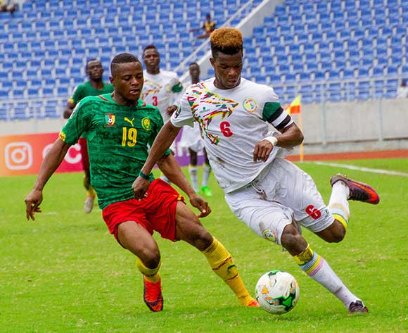 Kevin Olivier Soni of Senegal and Preston Tabortetaka Obiarrah of Cameroon during the 2017 Total Zambia U-20 African Cup of Nations match between Senegal and Cameroon at Levy Mwanawasa,Ndola,Zambia on 05 March 2017 ©Muzi Ntombela/BackpagePix
