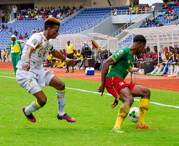 Kevin Olivier Soni of Cameroon and Mamadou Diarra of Senegal during the 2017 Total Zambia U-20 African Cup of Nations match between Senegal and Cameroon at Levy Mwanawasa,Ndola,Zambia on 05 March 2017 ©Muzi Ntombela/BackpagePix