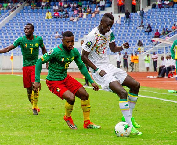 Ibrahima Niame of Senegal protects the ball from Fabrice Gael Ngal of Cameroon during the 2017 Total Zambia U-20 African Cup of Nations match between Senegal and Cameroon at Levy Mwanawasa,Ndola,Zambia on 05 March 2017 ©Muzi Ntombela/BackpagePix