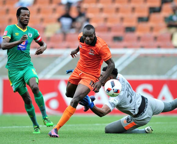 Rodney Ramagalela (c) of Polokwane City challenged by Dineo Shaku (l) and Oscarine Masuluke (r) of Baroka FC during the Absa Premiership 2016/17 match between Polokwane City and Baroka FC at Peter Mokaba Stadium, South Africa on 04 March 2017 ©Samuel Shivambu/BackpagePix