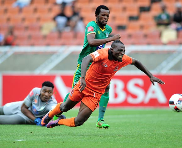 Rodney Ramagalela (r) of Polokwane City challenged by Dineo Shaku (c) and Oscarine Masuluke (l) of Baroka FC during the Absa Premiership 2016/17 match between Polokwane City and Baroka FC at Peter Mokaba Stadium, South Africa on 04 March 2017 ©Samuel Shivambu/BackpagePix