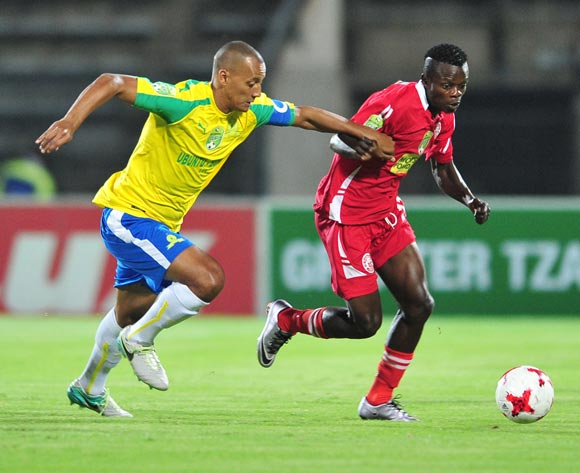 Jackson Phalane of Mariveni United challenged by Wayne Arendse of Mamelodi Sundowns during the 2017 Nedbank Cup match between Mamelodi Sundowns and Mariveni United at Lucas Moripe Stadium, South Africa on 06 March 2017 ©Samuel Shivambu/BackpagePix
