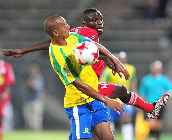 Wayne Arends of Mamelodi Sundowns challenged by Kulani Zitha of Mariveni United during the 2017 Nedbank Cup match between Mamelodi Sundowns and Mariveni United at Lucas Moripe Stadium, South Africa on 06 March 2017 ©Samuel Shivambu/BackpagePix