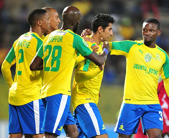 Leonardo Castro of Mamelodi Sundowns celebrates a goal with teammates  ©Samuel Shivambu/BackpagePix