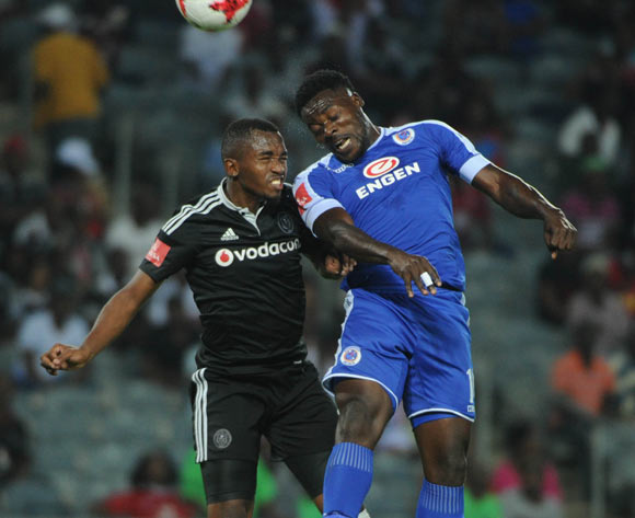 Kingston Nkhatha of Supersport United challenges Patrick Phungwayo of Orlando Pirates during the Absa Premiership match Orlando Pirates and Supersport United  on the 07 March 2017 at Orlando Stadium © Sydney Mahlangu/BackpagePix