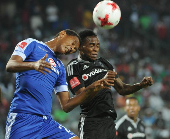 Mario Booysen of Supersport United challenges Thembinkosi Lorch of Orlando Pirates during the Absa Premiership match Orlando Pirates and Supersport United  on the 07 March 2017 at Orlando Stadium © Sydney Mahlangu/BackpagePix