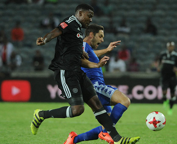 Dean Furman of Supersport United is challenged by Thamsanqa Gabuza of Orlando Pirates during the Absa Premiership match Orlando Pirates and Supersport United  on the 07 March 2017 at Orlando Stadium © Sydney Mahlangu/BackpagePix