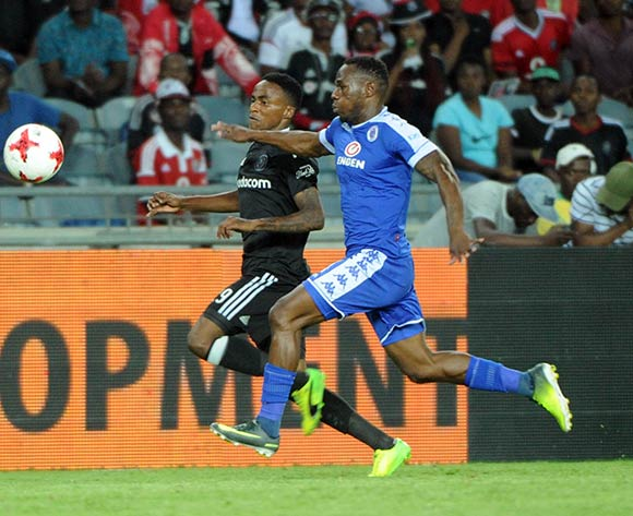 Onismor Bhasera of Supersport United challenges Thembinkosi Lorch of Orlando Pirates during the Absa Premiership match Orlando Pirates and Supersport United  on the 07 March 2017 at Orlando Stadium © Sydney Mahlangu/BackpagePix