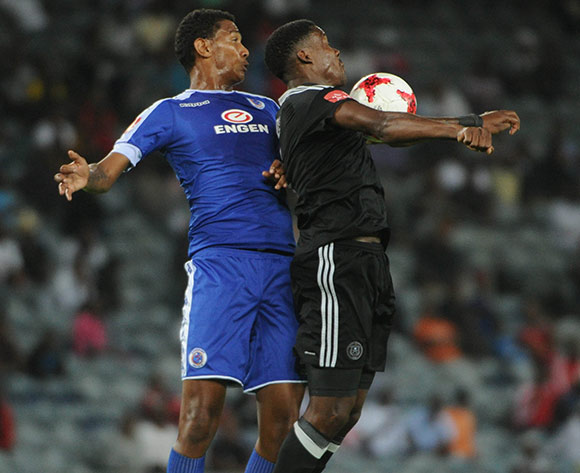Mario Booysen of Supersport United challenges Thamsanqa Gabuza of Orlando Pirates during the Absa Premiership match Orlando Pirates and Supersport United  on the 07 March 2017 at Orlando Stadium © Sydney Mahlangu/BackpagePix