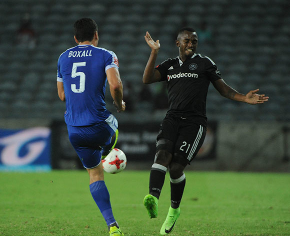 Patrick Phungwayo of Orlando Pirates is challenged by Michael Boxall of Supersport United during the Absa Premiership match Orlando Pirates and Supersport United  on the 07 March 2017 at Orlando Stadium © Sydney Mahlangu/BackpagePix