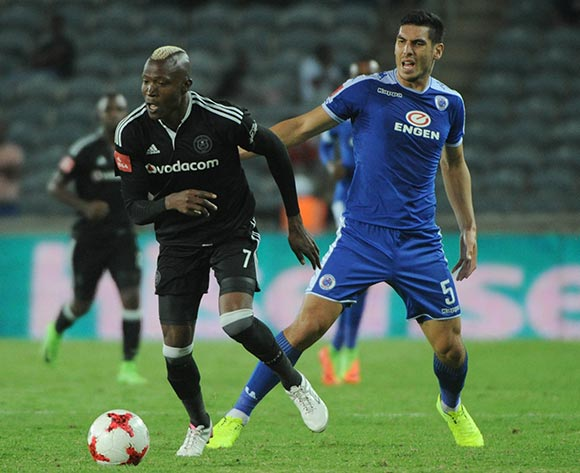Tendai Ndoro of Orlando Pirates is challenged by Michael Boxall of Supersport United during the Absa Premiership match Orlando Pirates and Supersport United  on the 07 March 2017 at Orlando Stadium © Sydney Mahlangu/BackpagePix